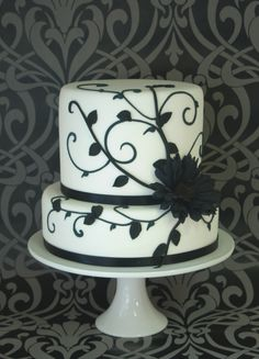 How funny! I just did one kinda like this but white on black! Although it was a single tier. :)