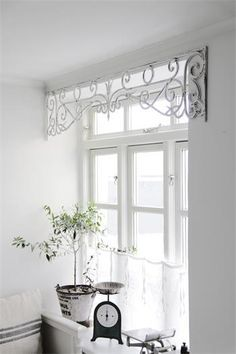 I love this idea. Love the metal window valance - some place in our house on Savage street - Home Projects We Love Kitchen Window Treatments, Kitchen Window Decor, Unique Window Treatments, Kitchen Window Valances, Window Sill Decor, Window Dressings, Curtain Designs, Pelmet Designs, House Windows