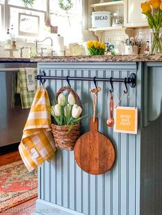 """I picked up the little """"sunny days ahead"""" sign at the Target Dollar Spot a few weeks back and I think it's the perfect sentiment to remind… Painted Kitchen Island, Kitchen Island Decor, Farmhouse Sink Kitchen, Kitchen Sink, Cottage Kitchens, Home Kitchens, Small Country Kitchens, Updated Kitchen, New Kitchen"""