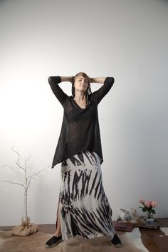 Tie Dye Maxi Skirt and Hooded Knit Tunic