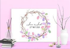 INSTANT DOWNLOAD Fingerprint Wreath /decoration wedding Birthday Party Decorations, Wedding Decorations, Birthday Parties, Presentation Pictures, Fingerprint Art, Ink Color, Best Memories, Creative Gifts, Bridal Shower