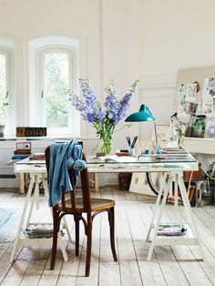 If I were an artist . . . Ikea has a table much like this but without the aged effect.