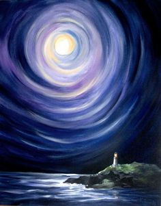 Moon and a Lighthouse, Landscape Painting - 16x20 Stretched Canvas Giclee #jewelryfindsllc #jewelryfindscom