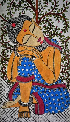 madhubani art Madhubani Painting buddha on Handmade Paper with Acrylic Paint Madhubani Paintings Peacock, Kalamkari Painting, Madhubani Art, Indian Art Paintings, Abstract Paintings, Abstract Portrait, Portrait Paintings, Oil Paintings, Abstract Art