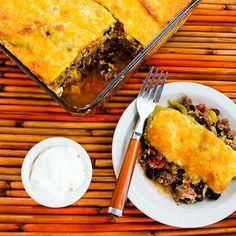 Spicy Green Chile Mexican Casserole with Ground Beef, Black Beans, and Tomatoes.  [SBD Phase One from Kalyn's Kitchen]