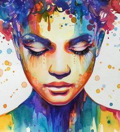 """""""Spring- awakening"""", Galya Bukova (Gala) erotic portrait - nude girl face pop art - Close-up detail (artwork)"""