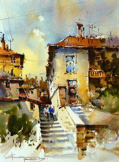 by Corneliu Drăgan-Târgovişte Watercolor City, Watercolor Sketch, Watercolor Landscape, Watercolour Painting, Landscape Art, Painting & Drawing, Landscape Paintings, Watercolours, Art Aquarelle