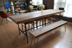 """Custom Industrial Reclaimed Wood Dining Table,2.5"""" thick top(150 year plus """"old growth"""" wood)"""