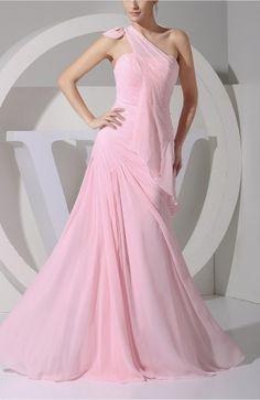 Pink Elegant A-line Asymmetric Neckline Zipper Floor Length Pearls Prom Dress