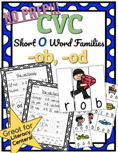 CVC *No Prep* - Short O Families -ob, -od. Help your students practice reading and writing CVC words with this Short O Family resource! No prep needed! Simply print and teach. Short O, Phonics Lessons, Short Vowels, Family Set, Cvc Words, Word Work, Literacy Centers, Curriculum, Families