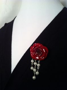 Old Hollywood Glamour Handcrafted Red Rose by VividVioletDesigns,