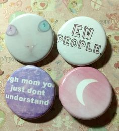 Pastel Goth Ew People Soft Grunge Kawaii Set Of 4 Buttons Plus 1 Free Button Gift With Purchase