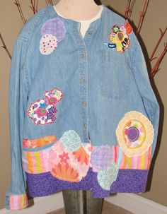 Altered Upcycled Blue Jean Shirt with colorful fabric by UpCDooZ, $44.00