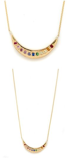 A beautiful rainbow gemstone necklace in yellow gold by Elisa Solomon.