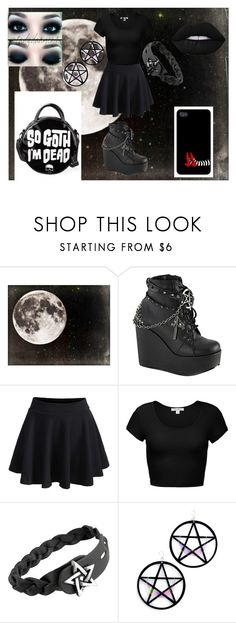 """""""Twinkle Twinkle Pentagram"""" by musikluver00 on Polyvore featuring Demonia, WithChic, Marina Fini, Lime Crime, Killstar, outfit, black, goth and pentagram"""