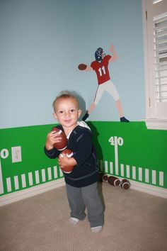 Eli's colorful football themed room. Wall stencils by My Wonderful Walls www.mywonderfulwalls.com