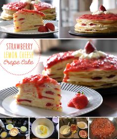 Strawberry Lemon Cheese Crepe Cake