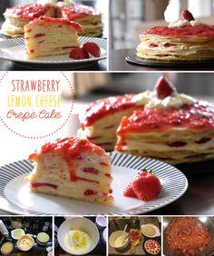 Strawberry Lemon Cheese Crepe Cake