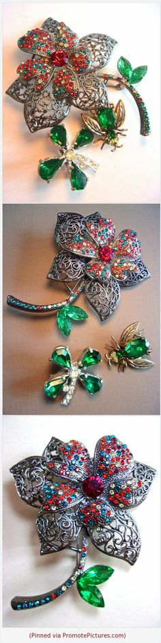 Green Red Rhinestone Brooch-Pin Lot, 3 Pieces, Flowers & Bug, Vintage #jewelryset #brooch #pins #bug #4leafclover #flower #rhinestones #red #green #filigree #vintage #lotof3 https://www.etsy.com/RenaissanceFair/listing/583372374/green-red-rhinestone-brooch-pin-lot-3?ref=listings_manager_grid  (Pinned using https://PromotePictures.com)