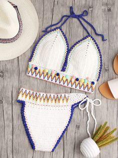 Chevron Pattern Pom Pom Trim Crochet Halter Bikini