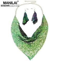 Manilai gioielli indiani set chic stile brillante metallo fetta bib choker collane dell'orecchino del partito/wedding fashion jewelry set 2017