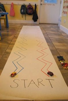 ZIG ZAG Race for fine motor control. Perfect for transportation theme!