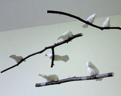 Vogel-Mobile  Natural oder weiß Leinen Stoff Vögel  von SewnBuddies
