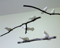 Bird Mobile Natural or White Linen Fabric Birds by SewnBuddies