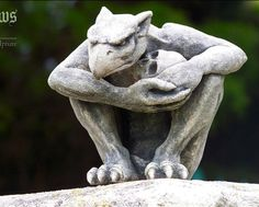 The Protector-Gargoyle with skull-gothic sculpture-cast stone by CastShadows on Etsy