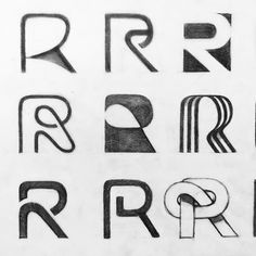 Monogram (R) process by Graphic Design Letters, Lettering Design, Logo Design Inspiration, Icon Design, Logo Sketches, Typography Logo, Rr Logo, Letterpress Business Cards, Identity