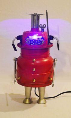 Robot, night light, robot art, mr robot,Heartless, Assemblage art sculpture, Recycled Materials, Found Object Art,Steampunk light,HooverBots