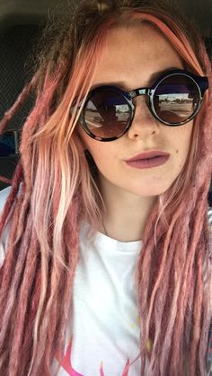 Pink rose gold ombré dreads with nude pink lip. @TanisKnotGlam