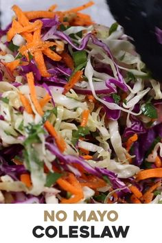 Vegan No Sugar & No Mayo Coleslaw Recipe (VIDEO!) – Foolproof Living This Healthy No Mayo Coleslaw recipe is made with red and green cabbage, carrots, red onion, and jalapeno and drizzled with sugar-free vinegar dressing. Perfect for any potluck or party. Healthy Coleslaw Recipes, Healthy Dinner Recipes, Diet Recipes, Vegetarian Recipes, Cooking Recipes, Sibas Table Recipes, Cooking Grill, Vegetarian Nachos, Cooking Bacon
