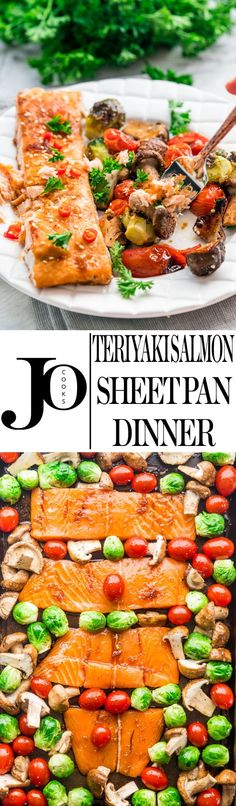 This Teriyaki Salmon Sheet Pan Dinner can be ready from start to finish in 30 minutes! Fast flavorful and all in one pan! Salmon Bites Recipe, Salmon Recipes, Fish Recipes, Seafood Recipes, Cooking Recipes, Healthy Recipes, What's Cooking, Seafood Meals, Top Recipes
