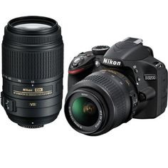 Nikon D3200 24.2 MP CMOS Digital SLR Camera with 18-55mm f/3.5-5.6G AF-S DX VR and 55-300mm f/4.5-5.6G ED VR AF-S DX NIKKOR Zoom Lenses by Nikon. $846.95. A new level of image quality, a familiar way of sharing. Nikon D3200 HD-SLR camera:  Don't let the D3200's compact size and price fool you-packed inside this easy to use HD-SLR is serious Nikon power: a 24.2 MP DX-format CMOS sensor that excels in any light, EXPEED 3 image-processing for fast operation and creative in-c...