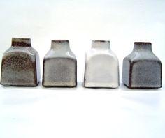 Quartet of small square midcentury modern Dutch vases Westraven 607