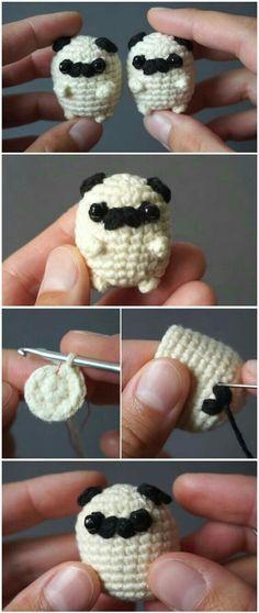 Häkeln Sie Baby Mops Amigurumi - Crochet&Knit - Leads For Amigurumi Beau Crochet, Crochet Mignon, Cute Crochet, Beautiful Crochet, Crochet Crafts, Yarn Crafts, Crochet Toys, Crochet Projects, Knit Crochet