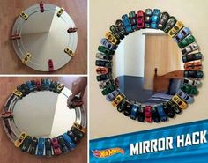 HOT WHEELS MIRROR - How awesome is this!!  http://hotwheels.mattel.com/en-us/news/blog-details/room-redecorate