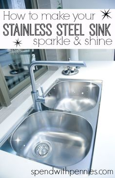How to make your stainless steel sink shine! Love it? Pin it to SAVE & SHARE it! Follow Spend With Pennies on Pinterest for more great tips, ideas and recipes! Leave your own great tips in the comments below! Is your stainless steel sink looking dull and lifeless? Scrub it up with these simple steps …