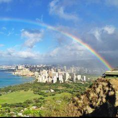 Rainbow over Waikiki, taken at Diamondhead lookout on Oahu