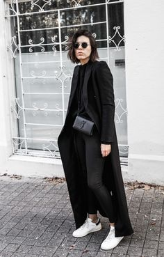 modern legacy   Black top + black pants / jeans + black duster + white sneakers  Fall winter