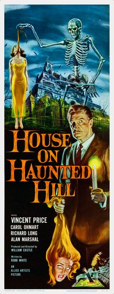 """House on Haunted Hill"" with Vincent Price. A millionaire offers ten thousand dollars to five people who agree to be locked in a large, spooky, rented house overnight with he and his wife. Photo and info credit: IMDb."