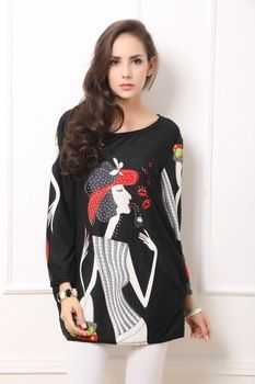 Autumn Cashmere drilling hot new fashion cartoon king Plus Size bottoming skirt skirt dress fat MM tops