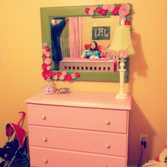 Upcycled dresser & DIY mirror for my daughter's room:)