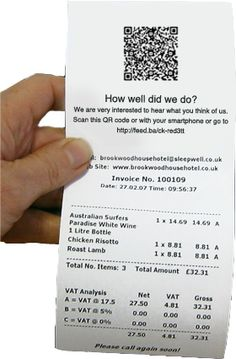 QR code on a receipt asks: how did we do?