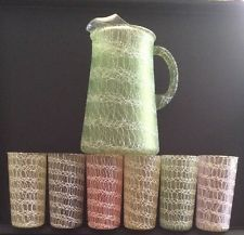 Spaghetti String Retro Pitcher and 6 Tall Tumblers Green Pink Yellows Lavender