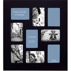 """Collage-Style Picture Frame Black, holds 4"""" x 6"""" Photos gift idea!"""