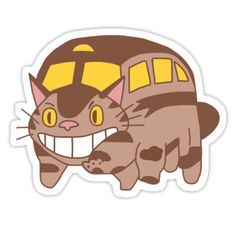 Cat Bus - Totoro by TurtlesSoup Anime Stickers, Kawaii Stickers, Cool Stickers, Printable Stickers, Cat Bus Totoro, Geek Wallpaper, Chat Bus, Studio Ghibli Poster, Bus Drawing