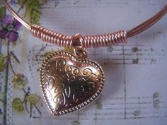 Rose Gold Bangle Wire Wrapped Bracelet Heart by lindasorigjewelry