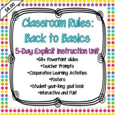 What better way to build classroom community than by exploring your classroom rules? Included is all you need to introduce four basic rules to your class in the first five days of school in an interactive and fun way! $